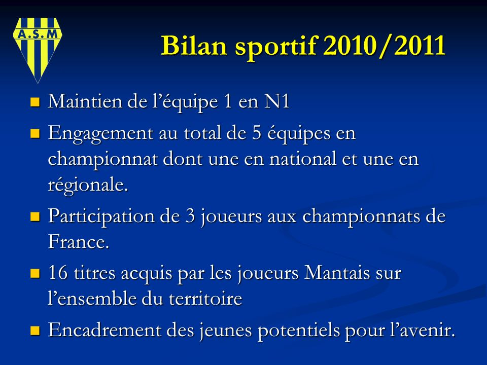 Bilan sportif 2010/2011 Maintien de l'équipe 1 en N1