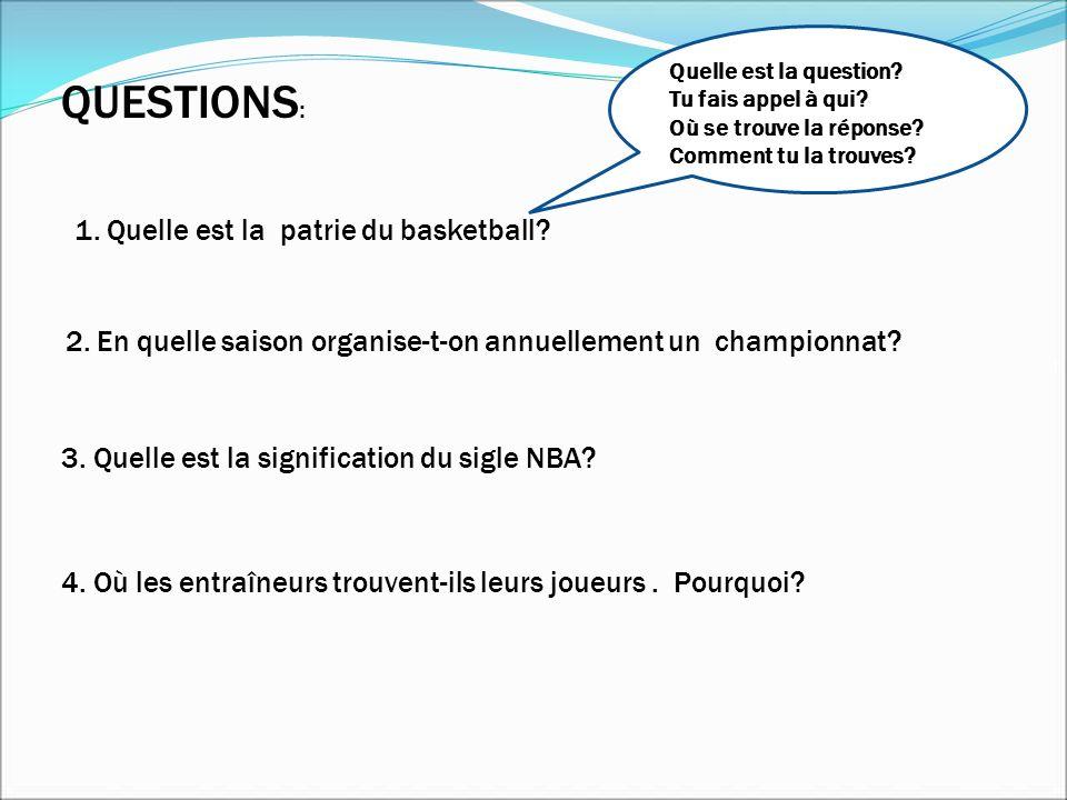 QUESTIONS: 1. Quelle est la patrie du basketball