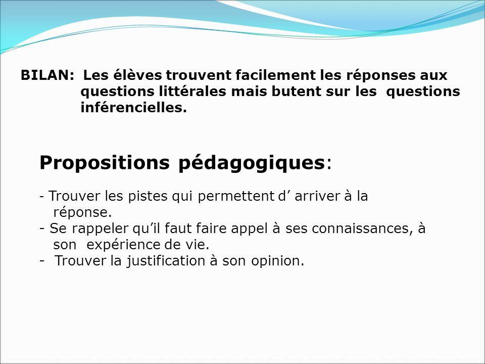 Propositions pédagogiques: