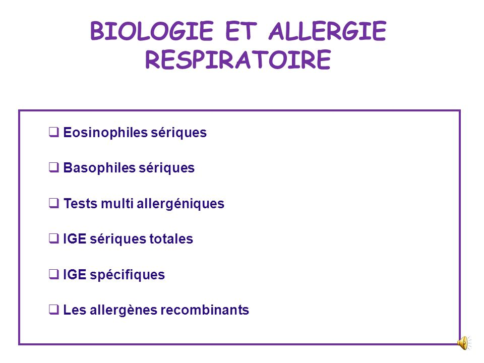 BIOLOGIE ET ALLERGIE RESPIRATOIRE