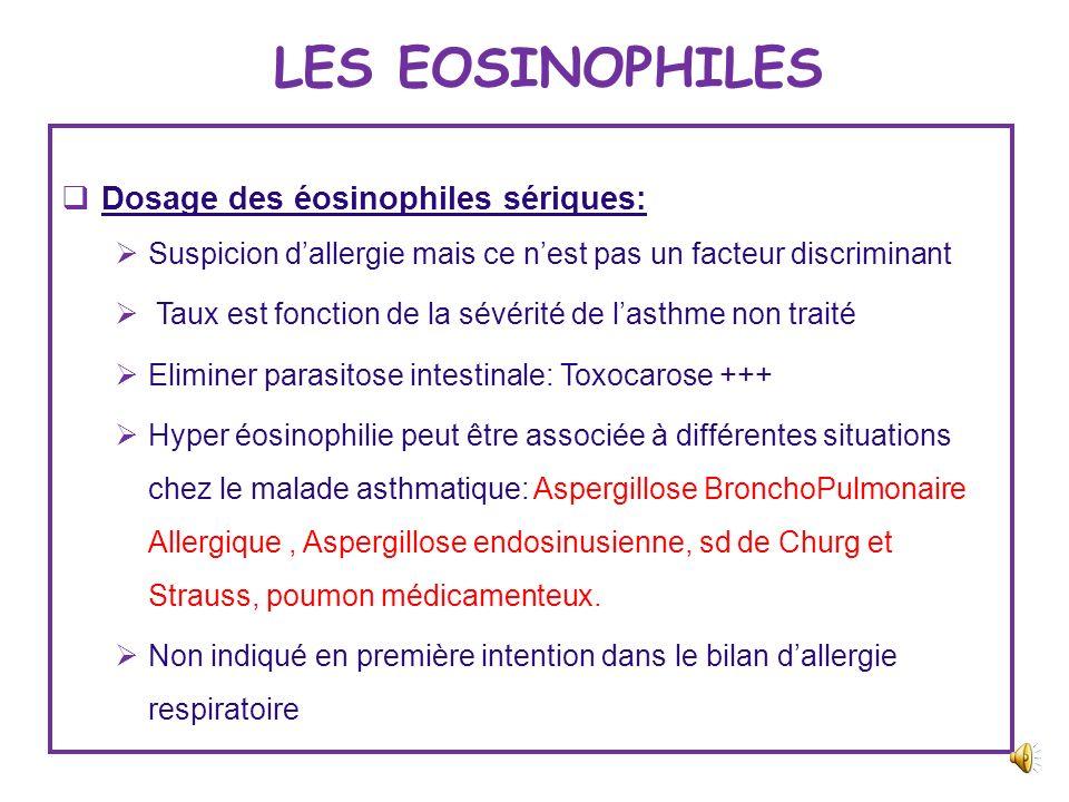 LES EOSINOPHILES Dosage des éosinophiles sériques: