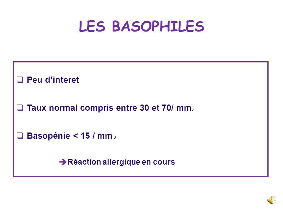 LES BASOPHILES Peu d'interet Taux normal compris entre 30 et 70/ mm3