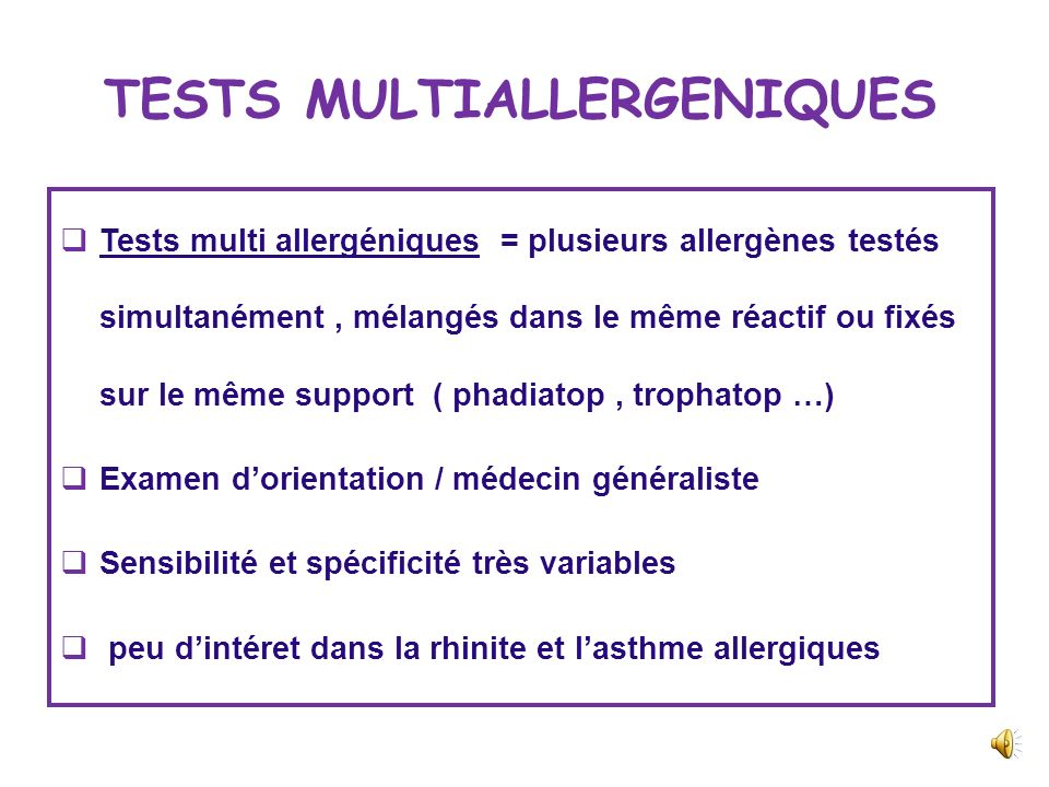 TESTS MULTIALLERGENIQUES