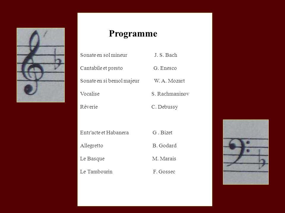 Programme Sonate en sol mineur J. S. Bach