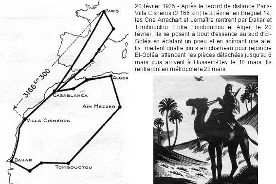 20 février 1925 - Après le record de distance Paris-Villa Cisneros (3 166 km) le 3 février en Breguet 19, les Cne Arrachart et Lemaître rentrent par Dakar et Tombouctou.