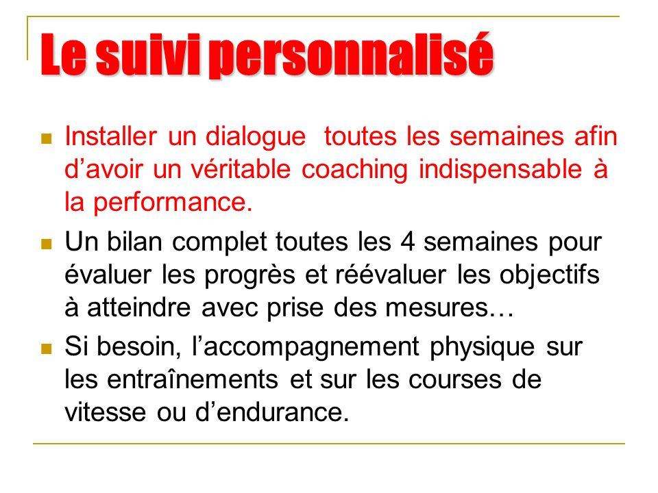 Le suivi personnalisé Installer un dialogue toutes les semaines afin d'avoir un véritable coaching indispensable à la performance.