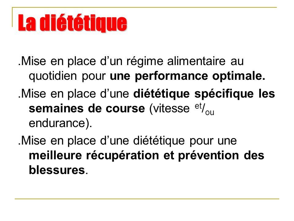 La diététique .Mise en place d'un régime alimentaire au quotidien pour une performance optimale.