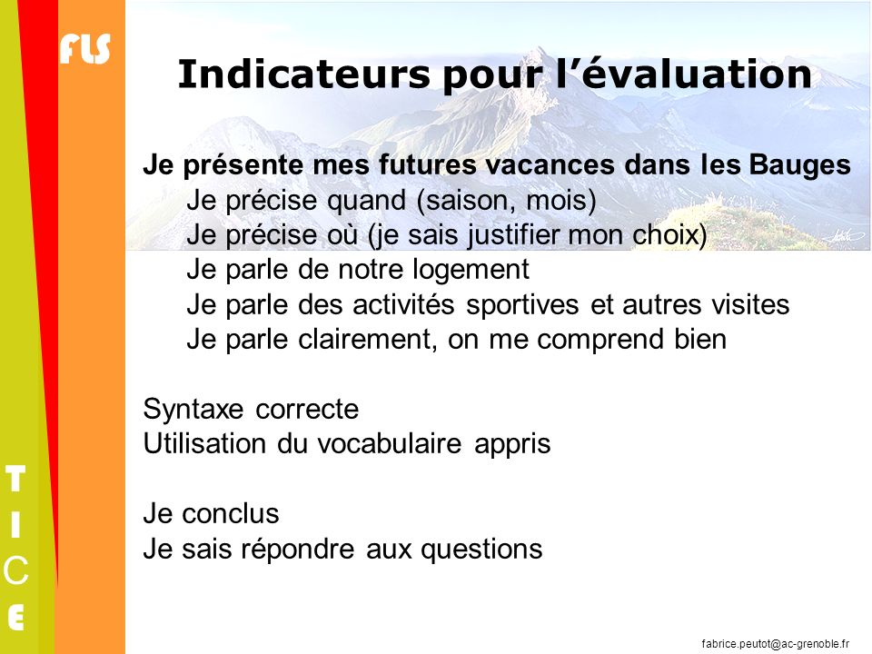 Indicateurs pour l'évaluation