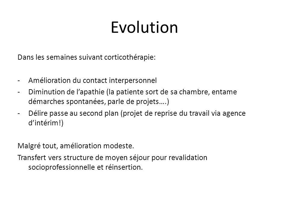 Evolution Dans les semaines suivant corticothérapie: