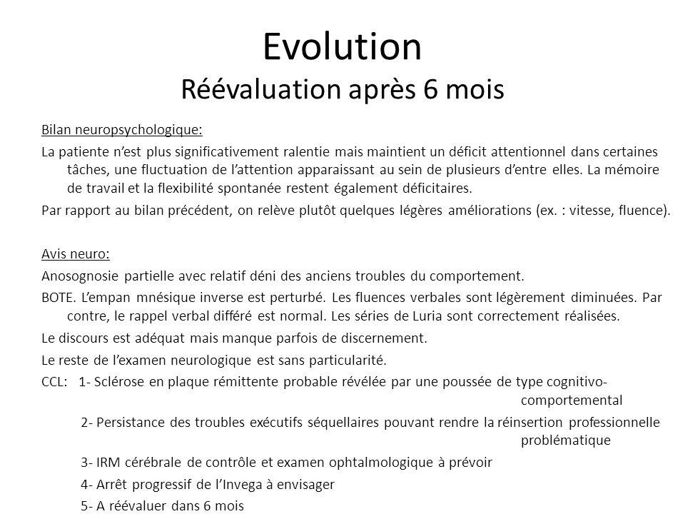 Evolution Réévaluation après 6 mois
