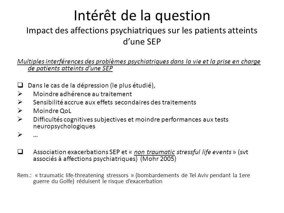 Intérêt de la question Impact des affections psychiatriques sur les patients atteints d'une SEP