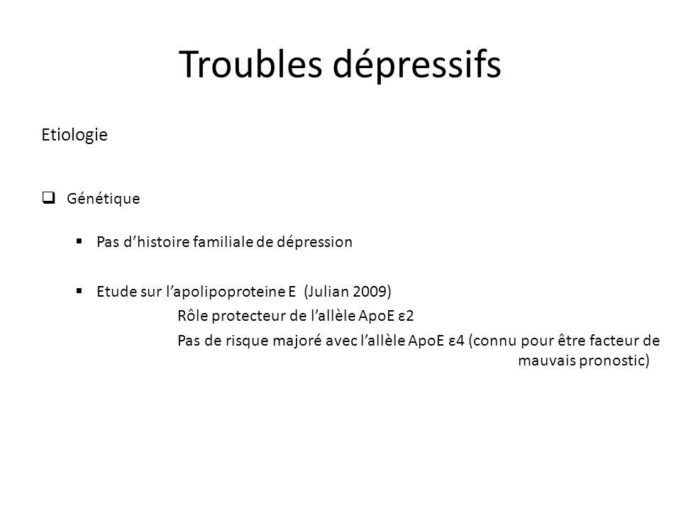 Troubles dépressifs Etiologie Génétique