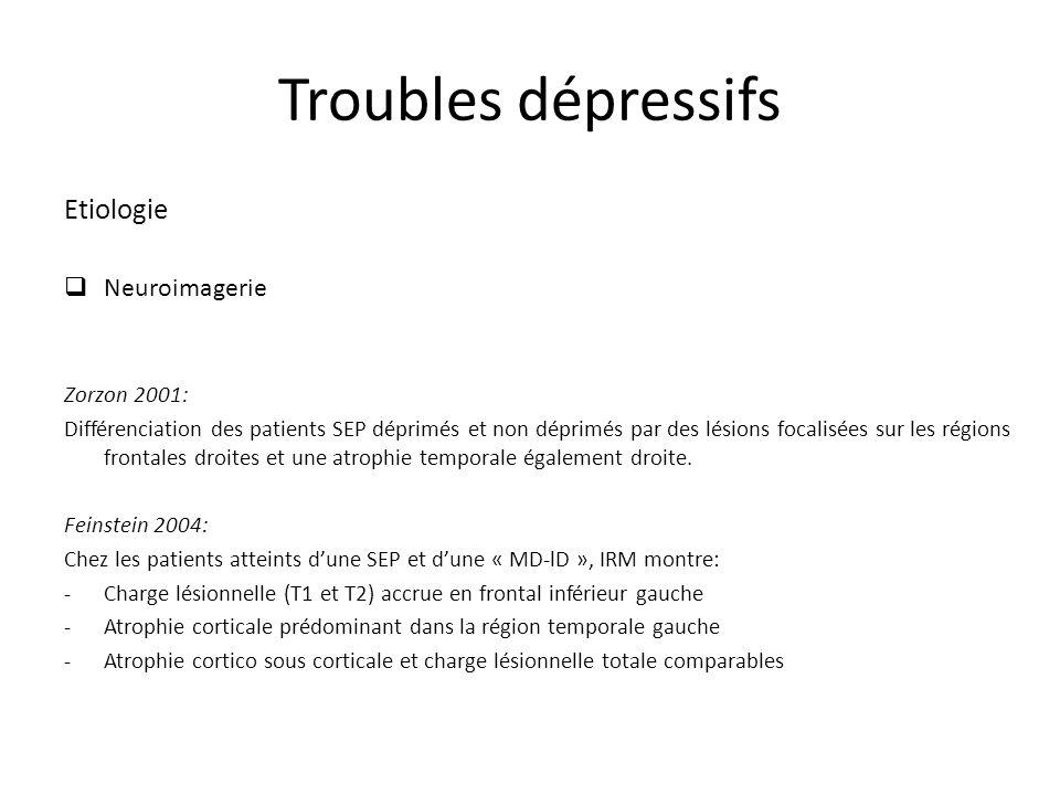 Troubles dépressifs Etiologie Neuroimagerie Zorzon 2001: