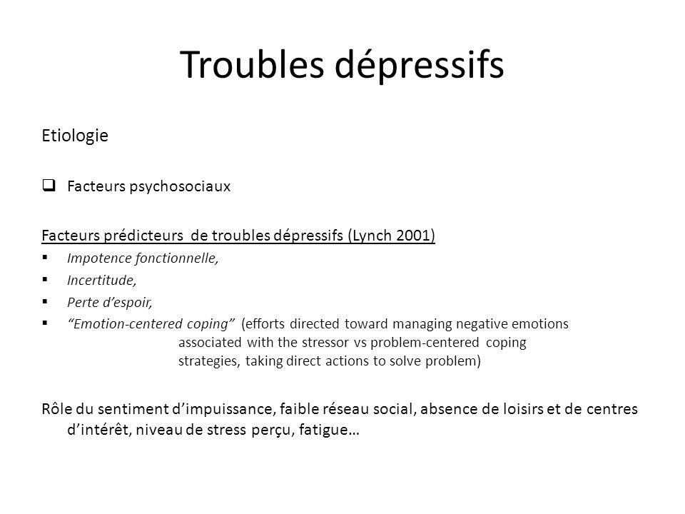 Troubles dépressifs Etiologie Facteurs psychosociaux