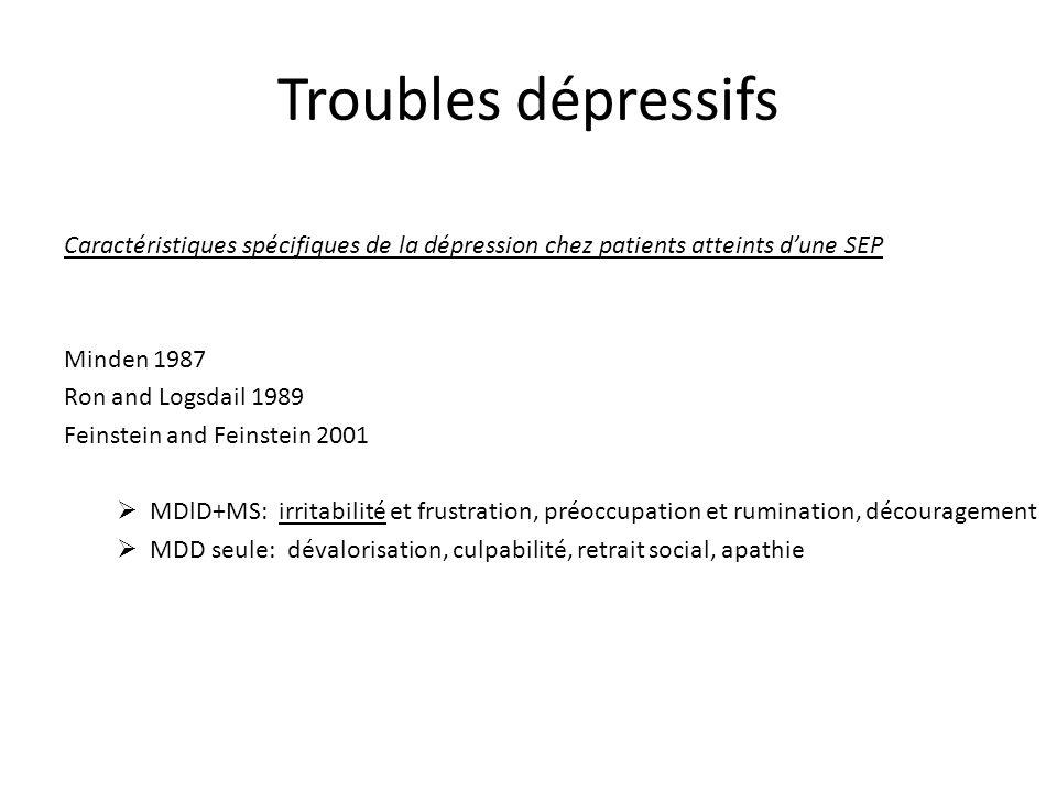 Troubles dépressifs Caractéristiques spécifiques de la dépression chez patients atteints d'une SEP.