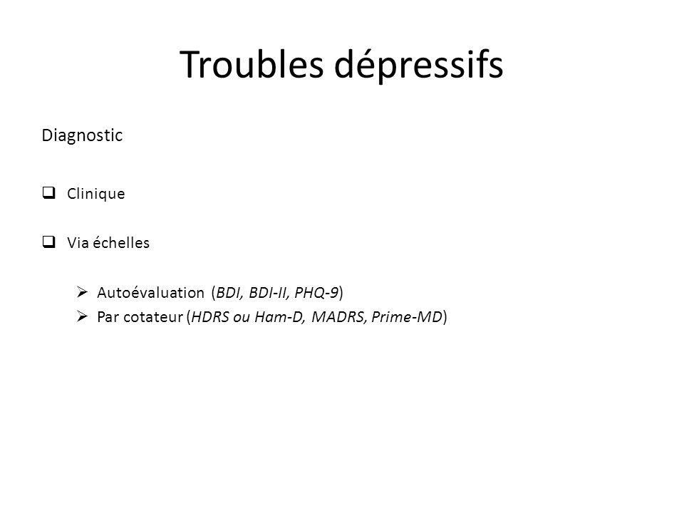 Troubles dépressifs Diagnostic Clinique Via échelles