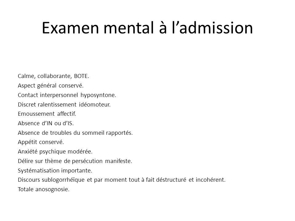 Examen mental à l'admission