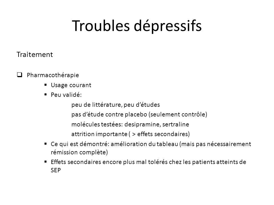 Troubles dépressifs Traitement Pharmacothérapie Usage courant