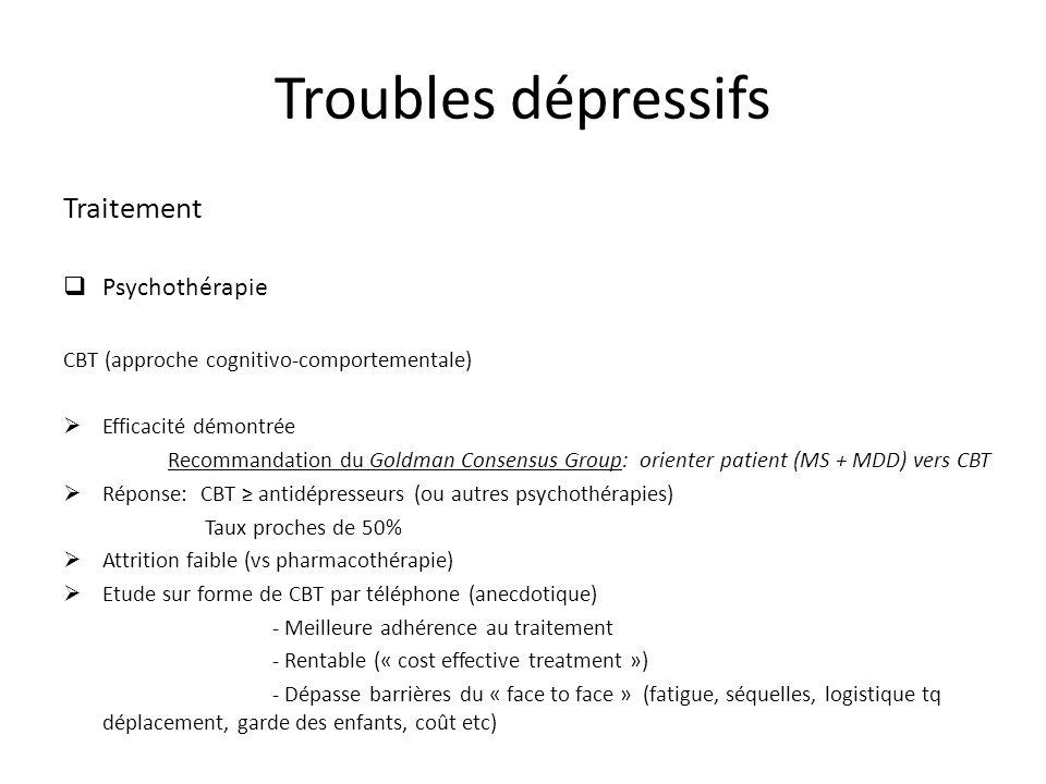 Troubles dépressifs Traitement Psychothérapie