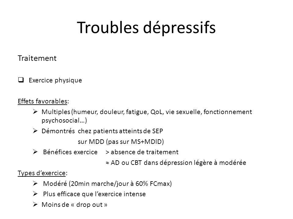 Troubles dépressifs Traitement Exercice physique Effets favorables: