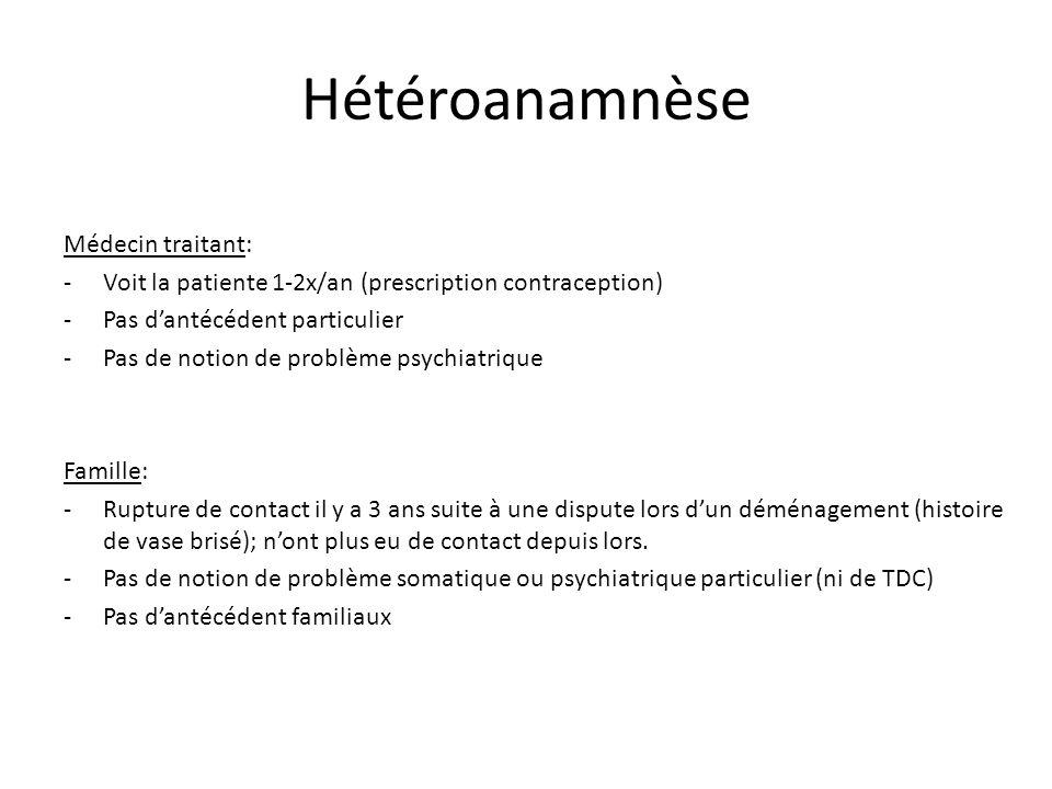 Hétéroanamnèse Médecin traitant: