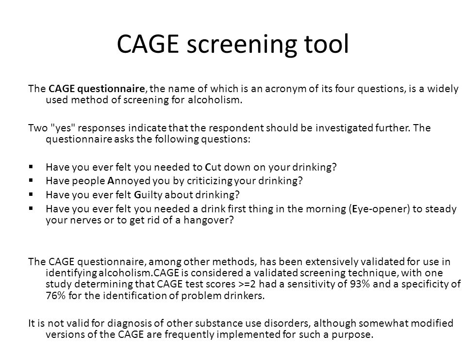 CAGE screening tool