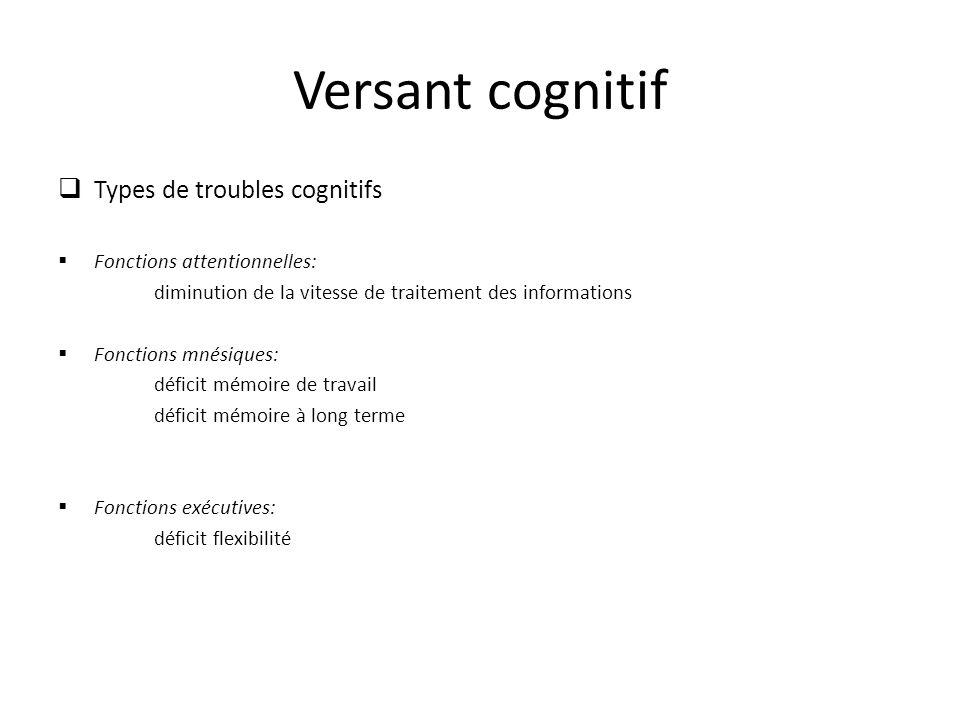 Versant cognitif Types de troubles cognitifs