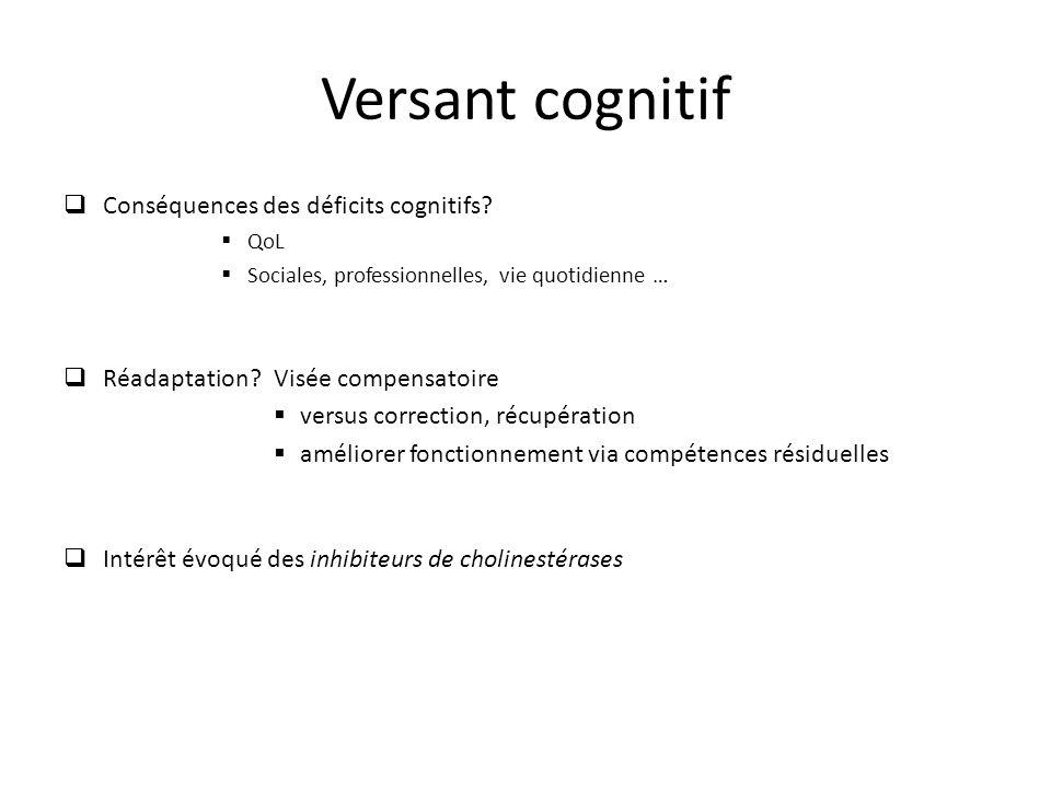 Versant cognitif Conséquences des déficits cognitifs