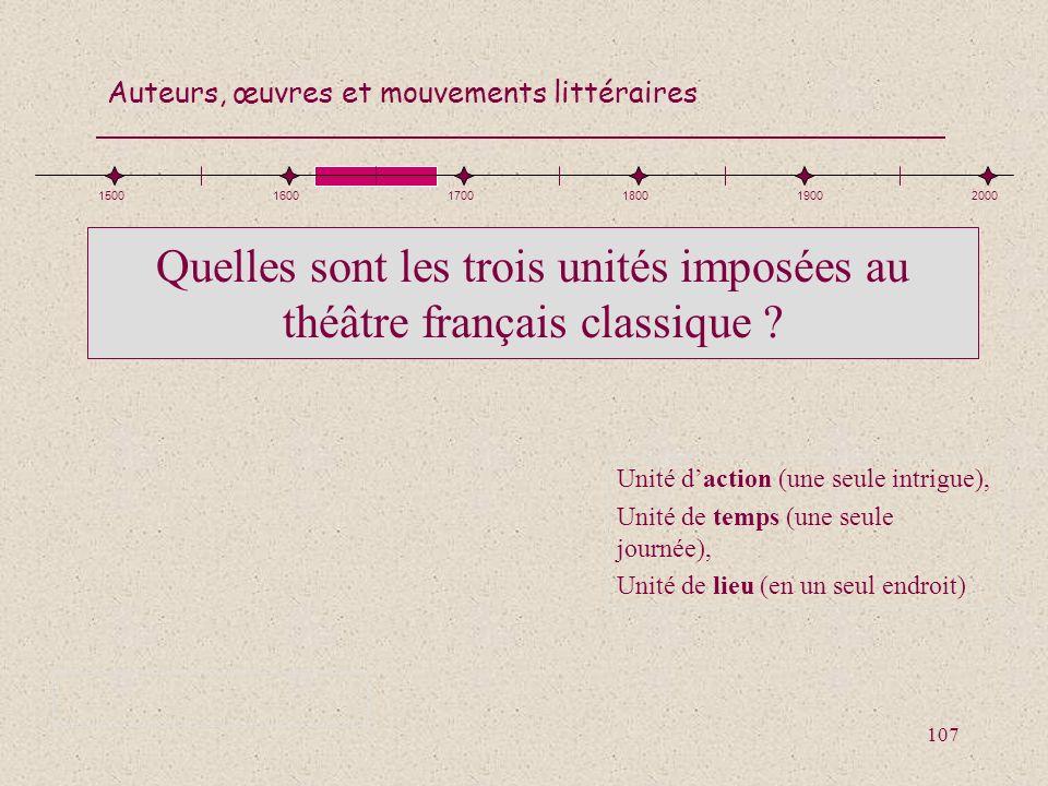 Quelles sont les trois unités imposées au théâtre français classique