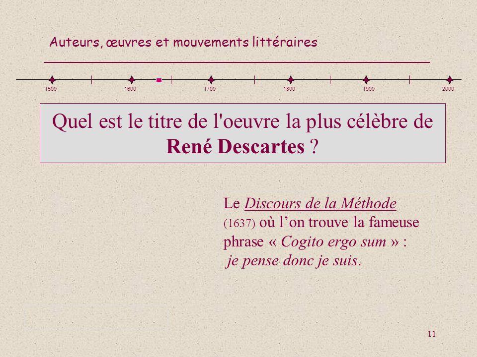 Quel est le titre de l oeuvre la plus célèbre de René Descartes