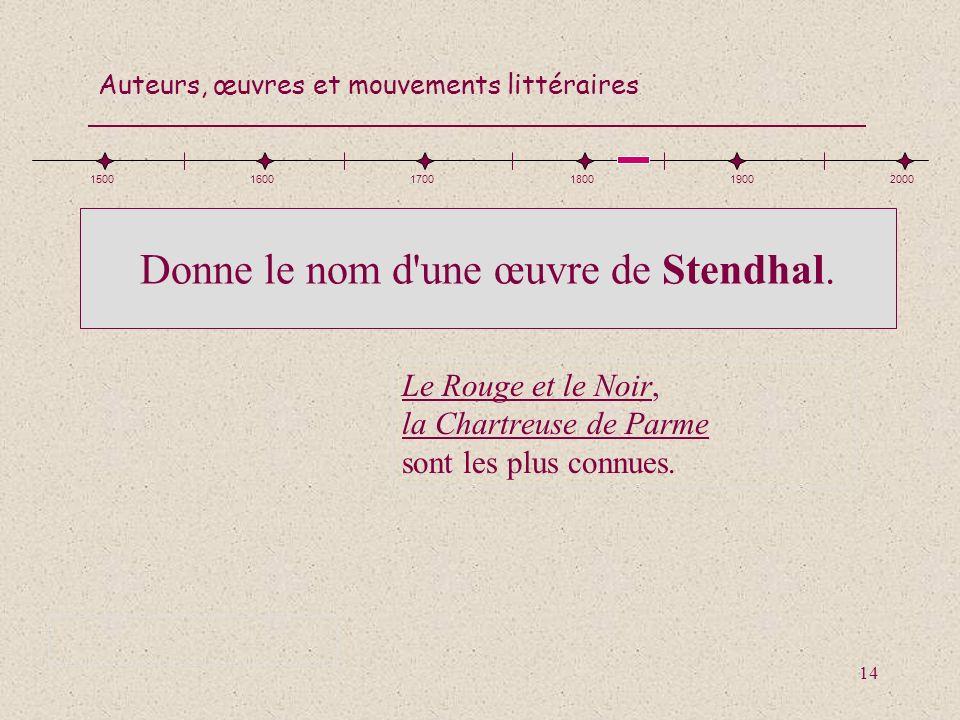 Donne le nom d une œuvre de Stendhal.