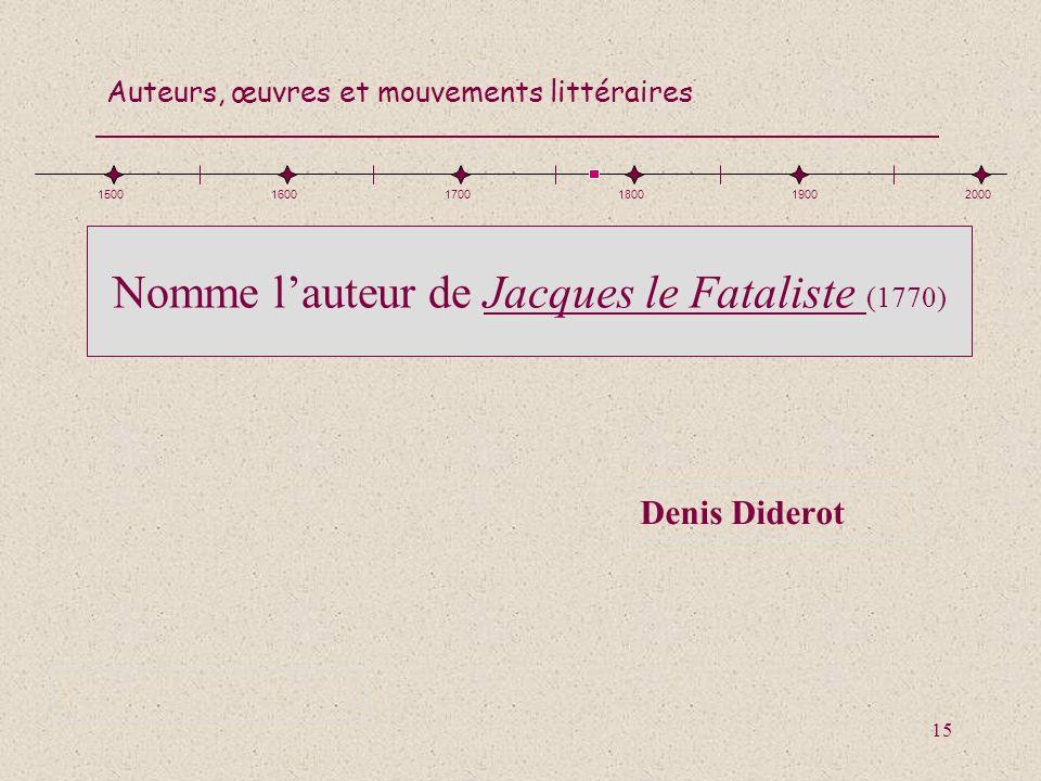 Nomme l'auteur de Jacques le Fataliste (1770)