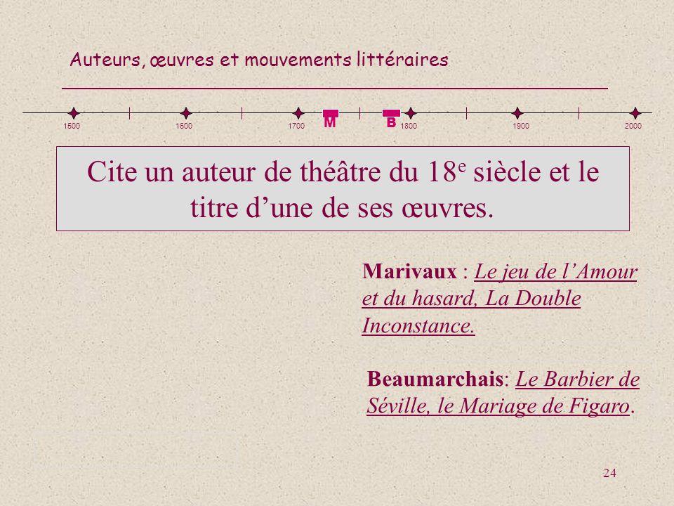 1500 1600. 1700. 1800. 1900. 2000. M. B. Cite un auteur de théâtre du 18e siècle et le titre d'une de ses œuvres.