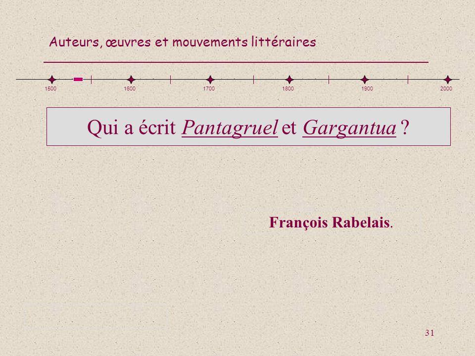 Qui a écrit Pantagruel et Gargantua