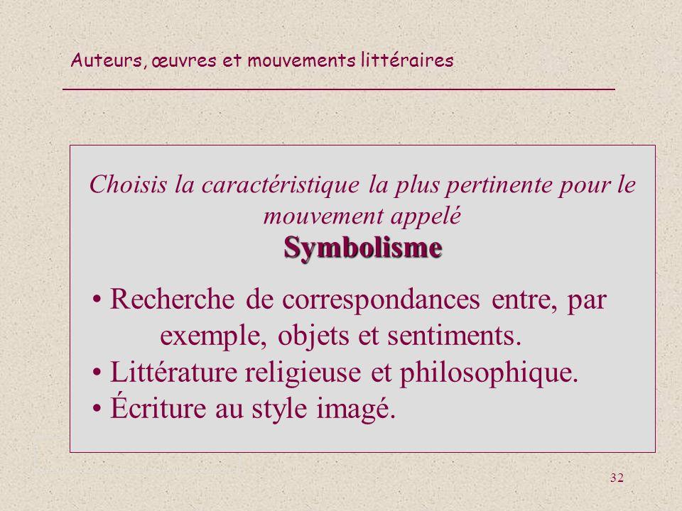 Choisis la caractéristique la plus pertinente pour le mouvement appelé Symbolisme