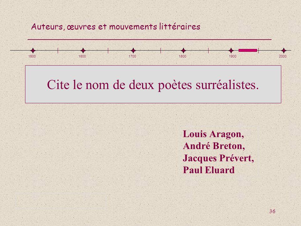 Cite le nom de deux poètes surréalistes.