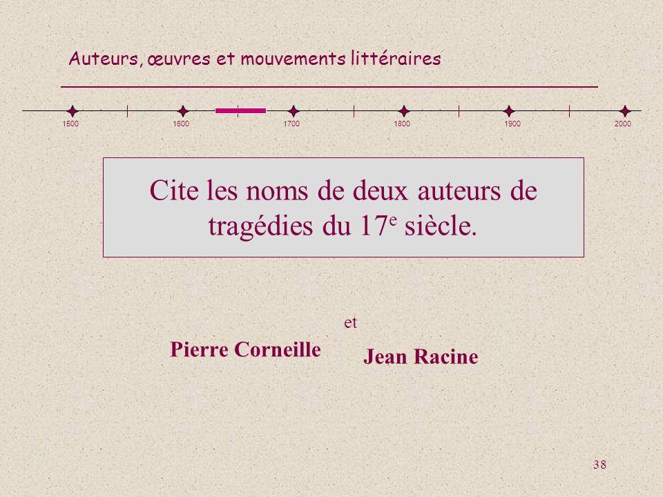 Cite les noms de deux auteurs de tragédies du 17e siècle.