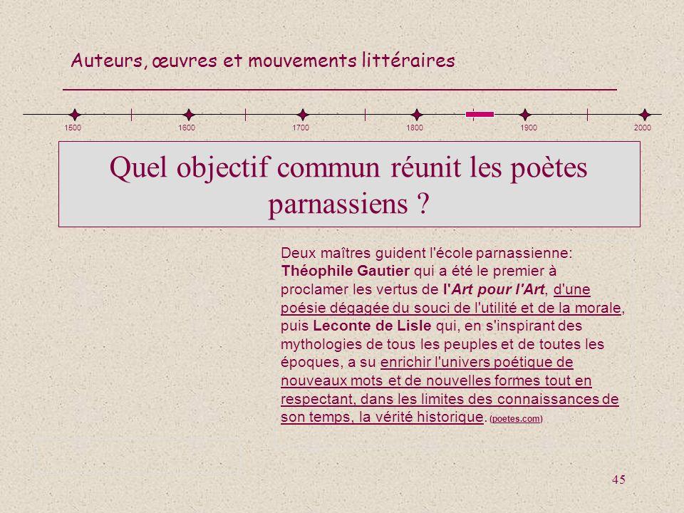 Quel objectif commun réunit les poètes parnassiens