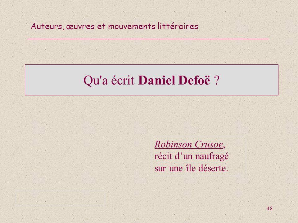Qu a écrit Daniel Defoë Robinson Crusoe, récit d'un naufragé sur une île déserte.