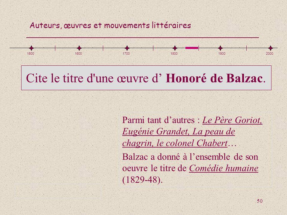 Cite le titre d une œuvre d' Honoré de Balzac.