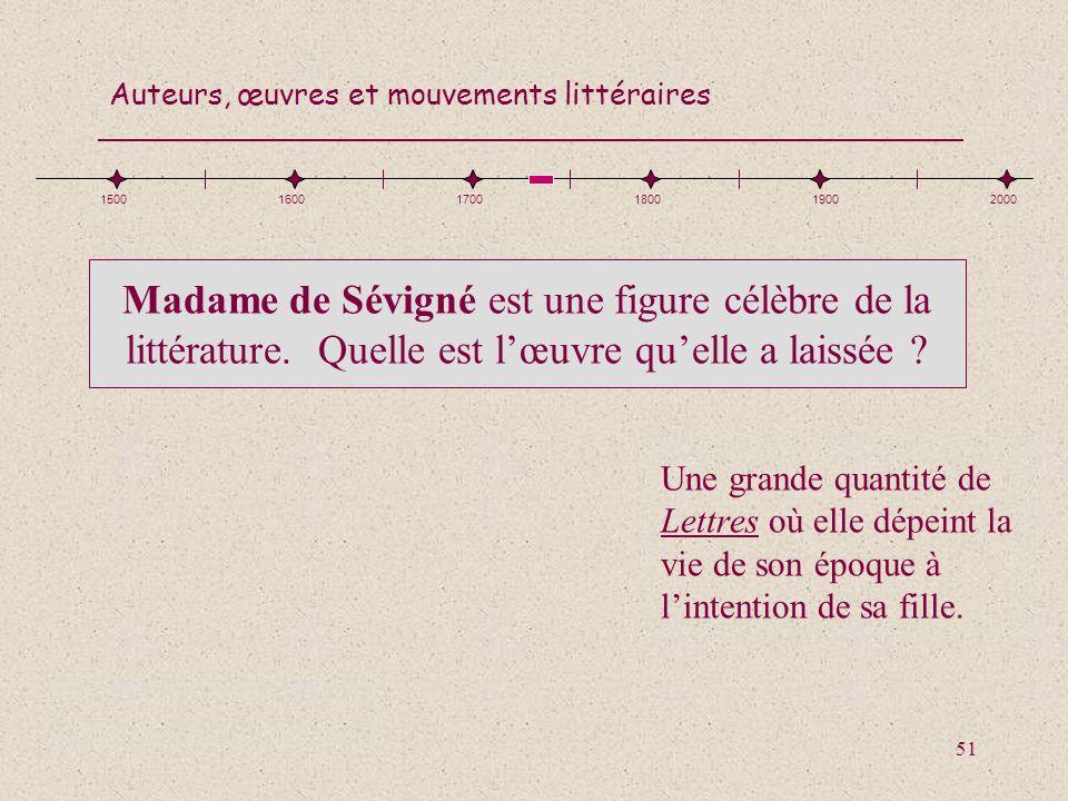 1500 1600. 1700. 1800. 1900. 2000. Madame de Sévigné est une figure célèbre de la littérature. Quelle est l'œuvre qu'elle a laissée