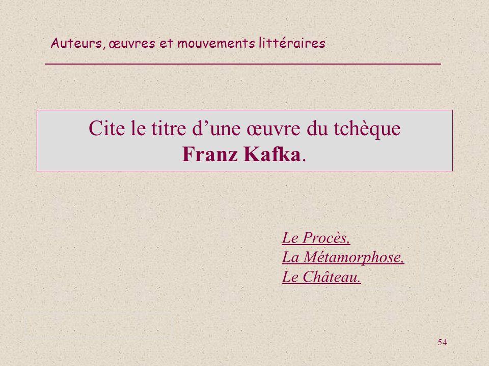 Cite le titre d'une œuvre du tchèque Franz Kafka.