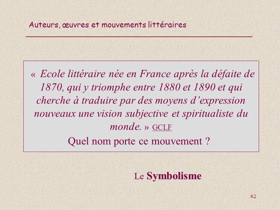 « Ecole littéraire née en France après la défaite de 1870, qui y triomphe entre 1880 et 1890 et qui cherche à traduire par des moyens d'expression nouveaux une vision subjective et spiritualiste du monde. »(GCLF Quel nom porte ce mouvement ))