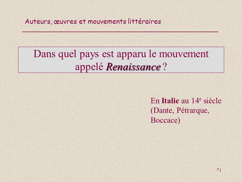 Dans quel pays est apparu le mouvement appelé Renaissance
