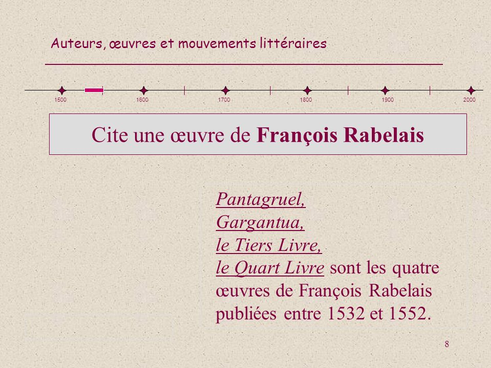 Cite une œuvre de François Rabelais