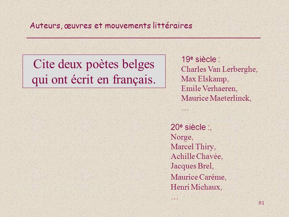 Cite deux poètes belges qui ont écrit en français.