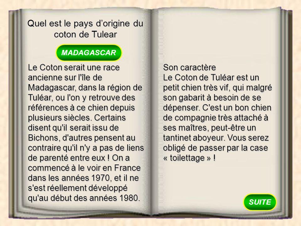 Quel est le pays d'origine du coton de Tulear