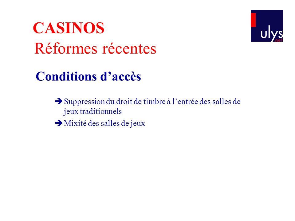 CASINOS Réformes récentes Conditions d'accès