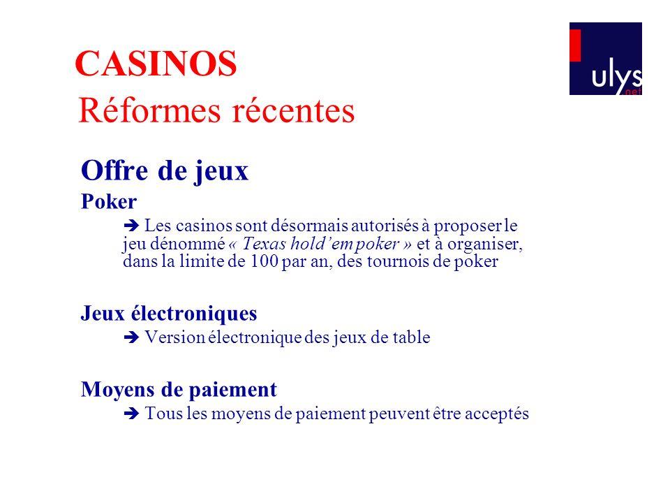 CASINOS Réformes récentes Offre de jeux Poker Jeux électroniques