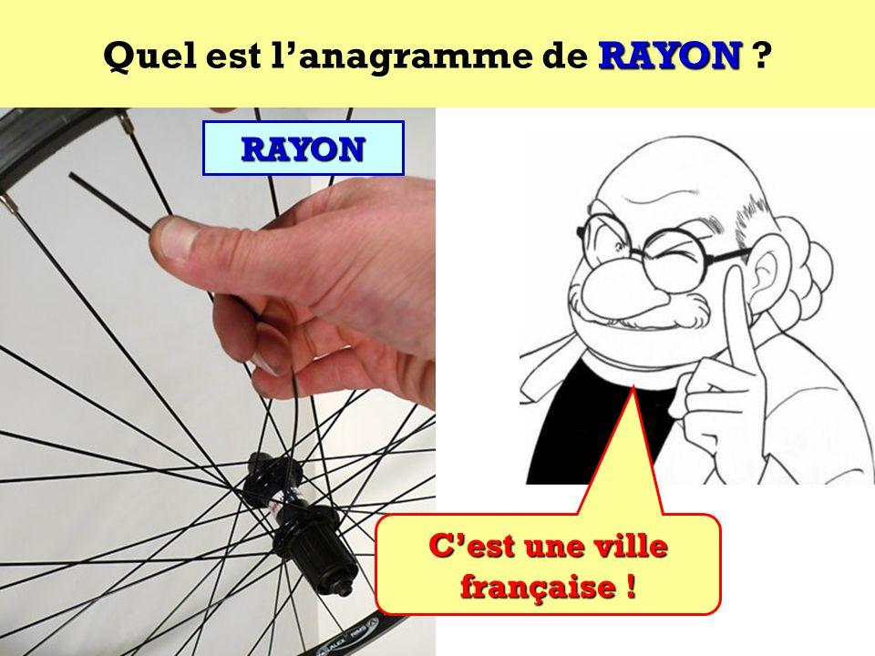 Quel est l'anagramme de RAYON C'est une ville française !